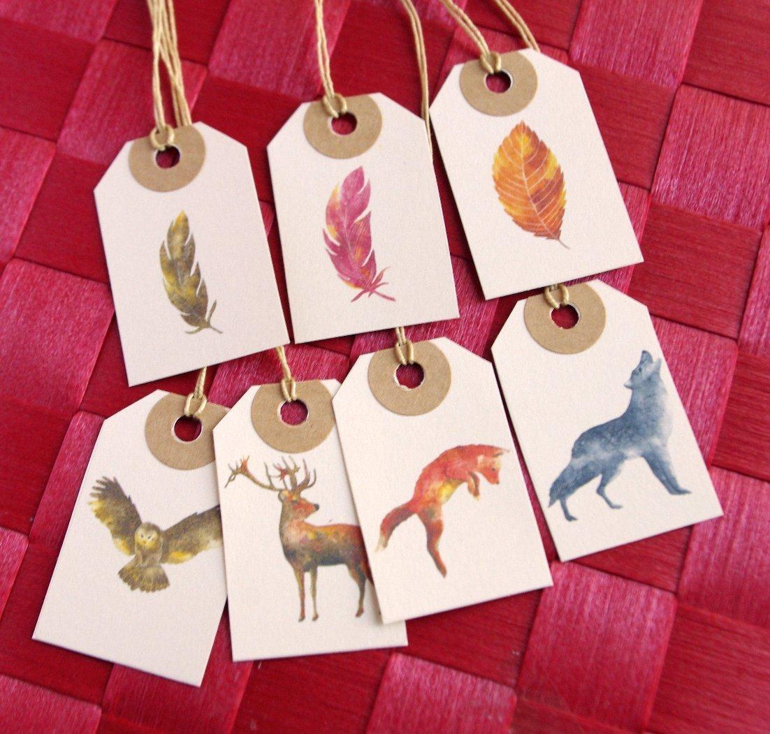 7 étiquettes paquet cadeau étiquette animaux de la forêt plume tag ivoire emballage de noël - façonnage manuel