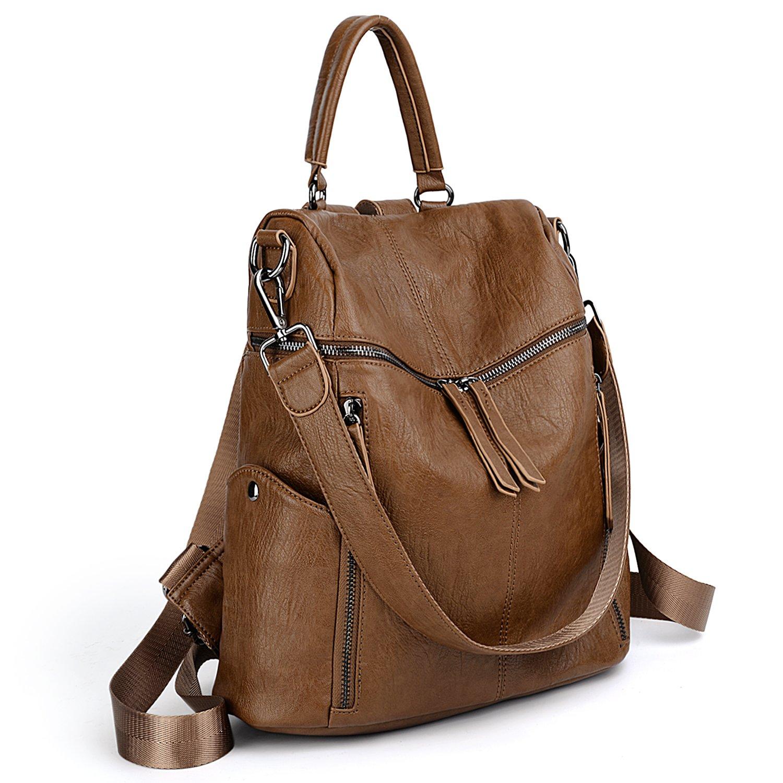 UTO Women Backpack Purse PU Washed Leather 3 Ways Ladies Rucksack Zipper Shoulder Bag A Brown