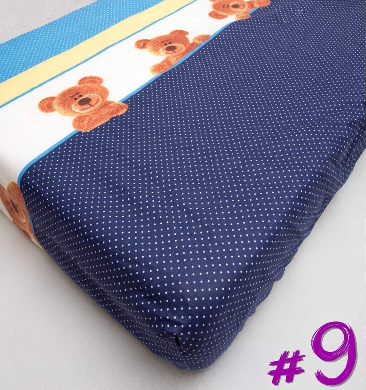 S/ábana ajustable de algod/ón para cama de cuna 120 x 60 Modelo 11