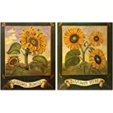 Sunflower Home Decor, Rustic Farmhouse Wall Art, Country Decorations (2 Pack)