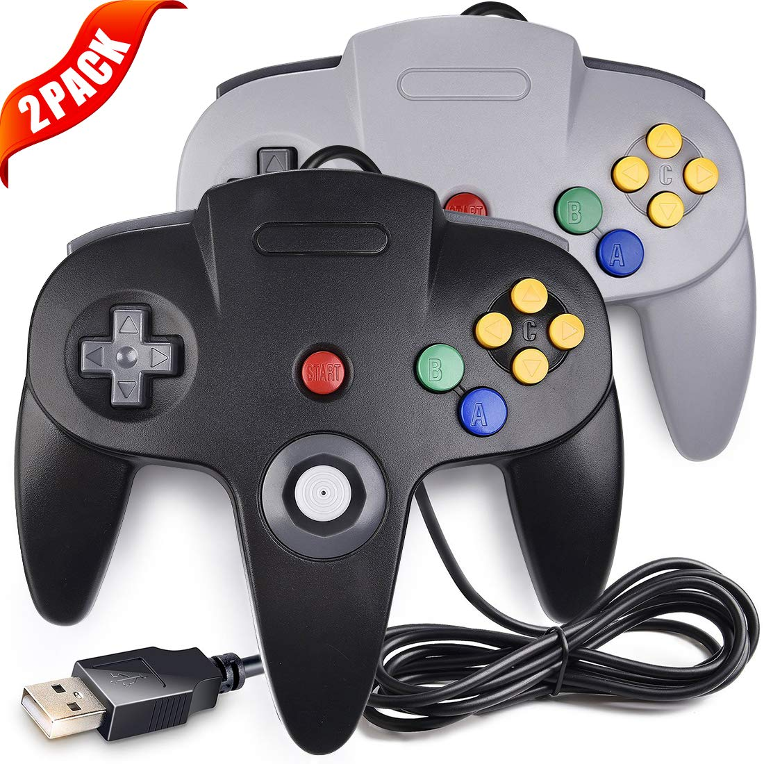 2 Pack LUXMO Upgraded N64 USB Controllers,Classic