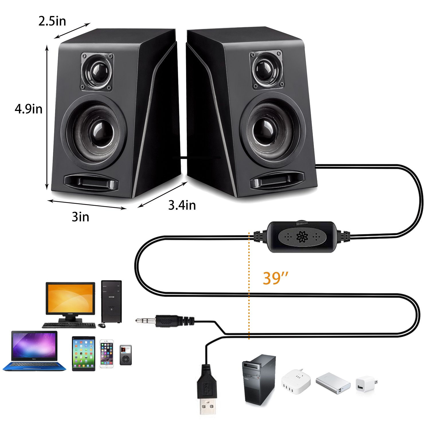 USB Powered Computer Speakers, Wired Stereo Desktop Bookshelf Laptop Speakers with Volume Control Ideal for Notebook, Laptop, PC, Desktop Tablet by Meetuo (Image #4)