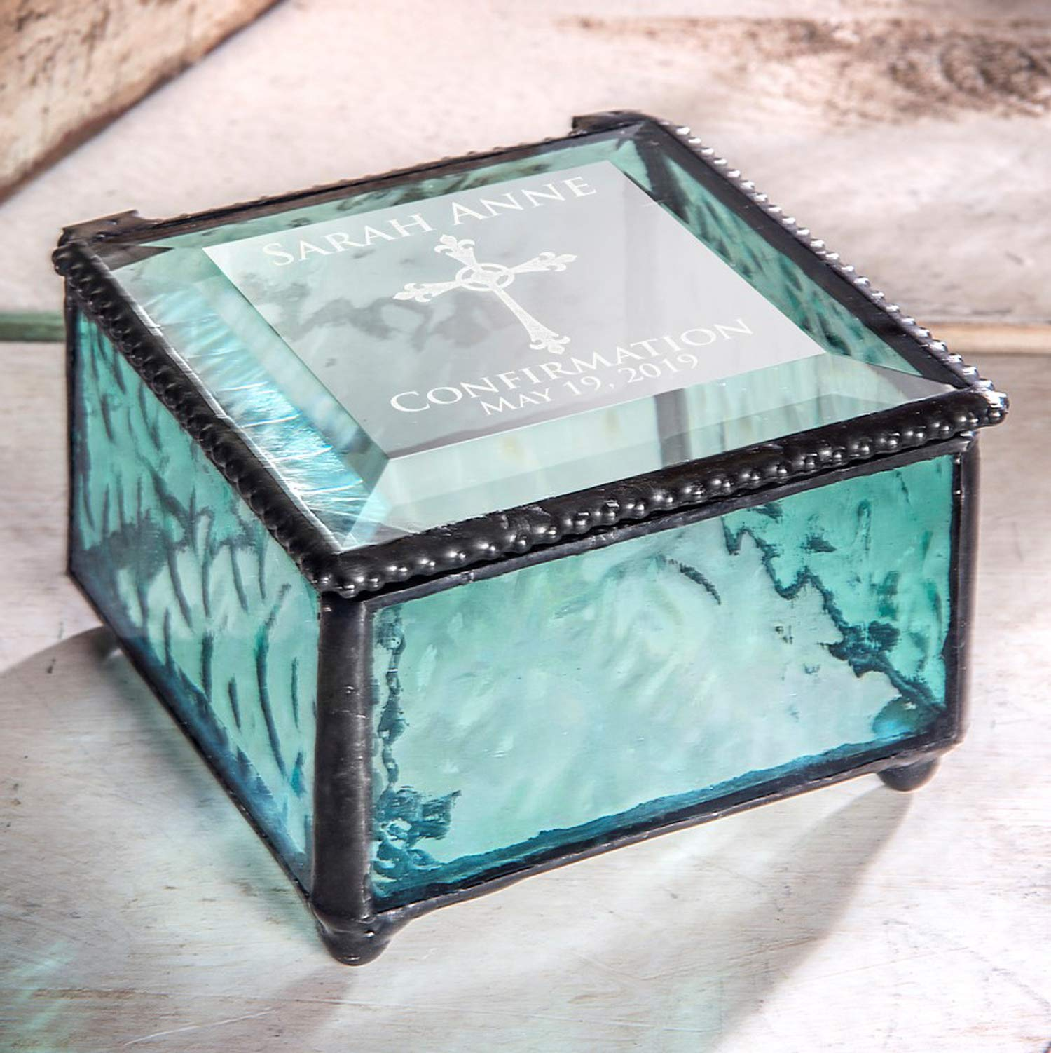 Confirmation Gift for Girls Personalized Jewelry Box Blue Engraved Glass Keepsake J Devlin Box 898 EB221