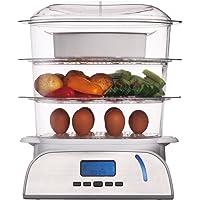 KeMar Kitchenware KFS-900 Dampfgarer, 6 Programme, Warmhalten, Timer, LED, 800W, 9 Liter, Turboring, inkl. Reisschale