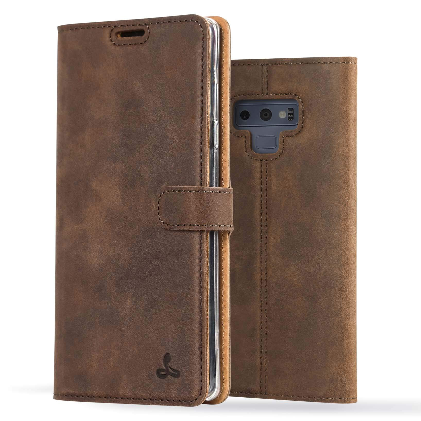 Snakehive Samsung Galaxy Note 9 Case, Luxury Genuine Leather Wallet with Viewing Stand and Card Slots, Flip Cover Gift Boxed and Handmade in Europe for Samsung Galaxy Note 9 - Brown