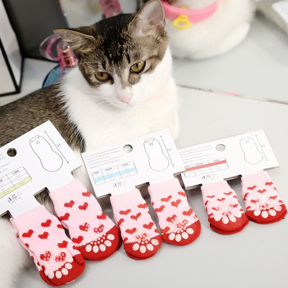 NoyoKere 4pcs Calcetines Antideslizantes peque/ños Protectores de la Pata del Perro Cachorros Gato Calcetines