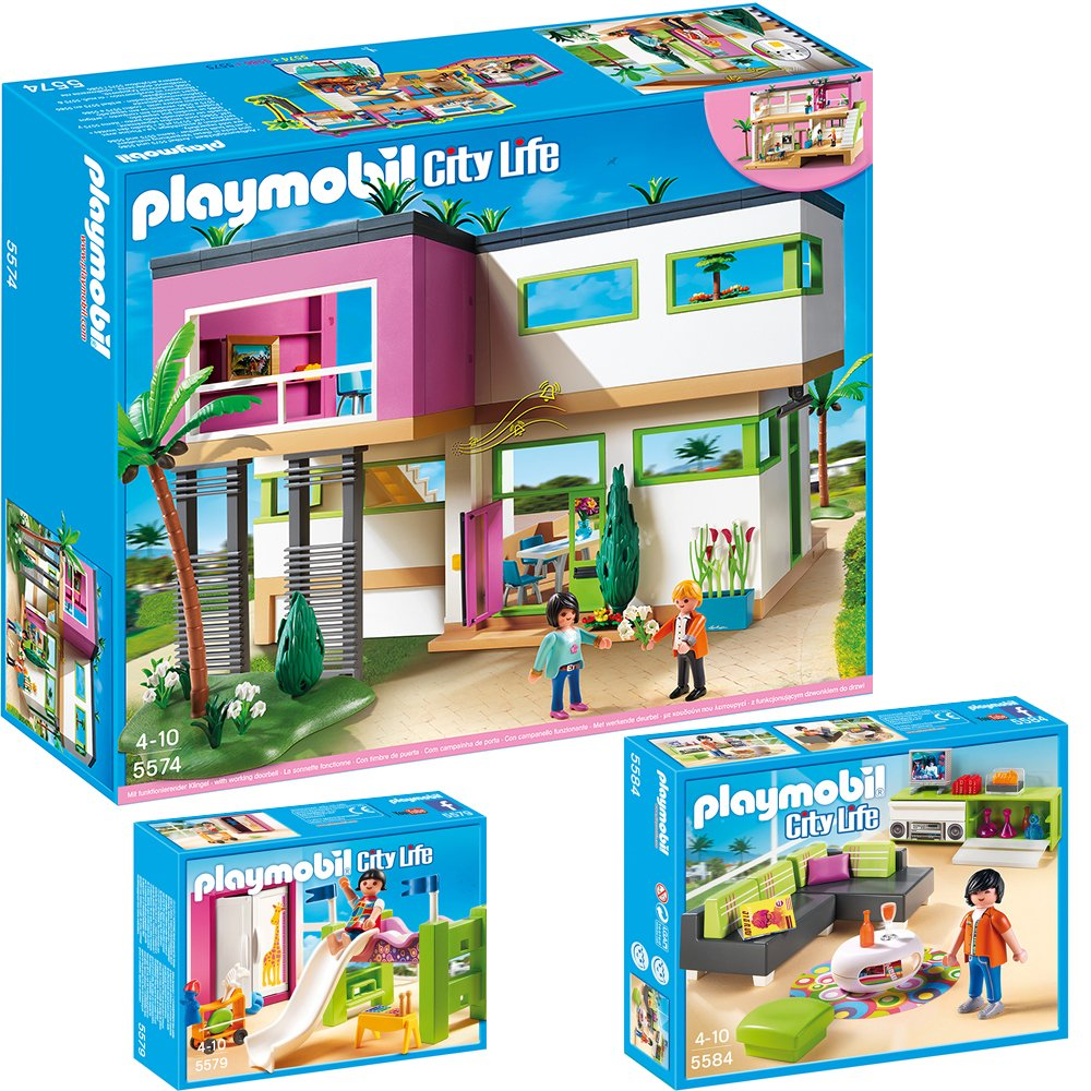 playmobil modernes wohnzimmer : Playmobil City Life 3 Teiliges Set 5574 Moderne Luxusvilla 5579