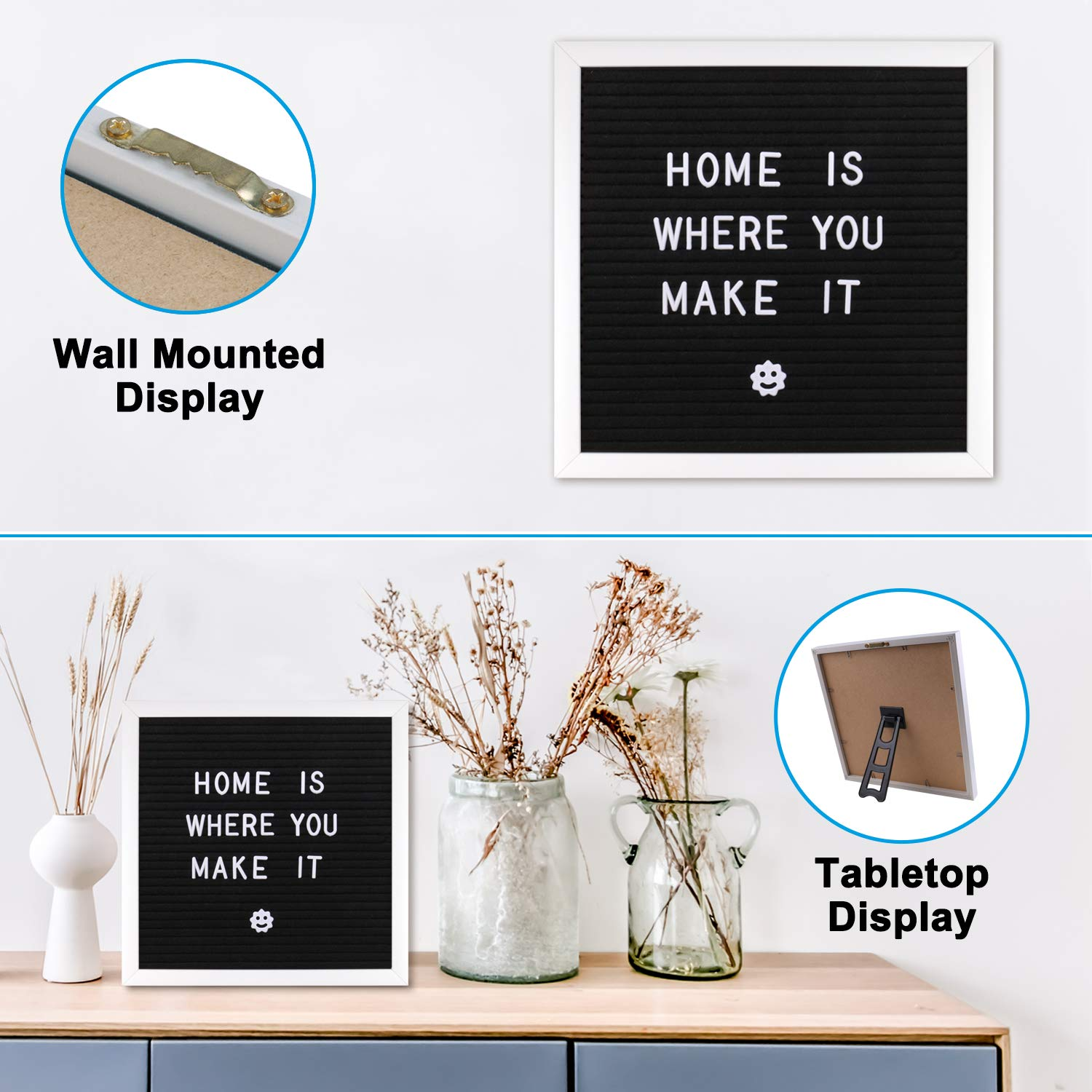 Changable Letter Board 10x10 inches, Message Sign Board with Adjustable Stand,Wall Mount, Canvas Bag and 380 Letters, Numbers & Symbols