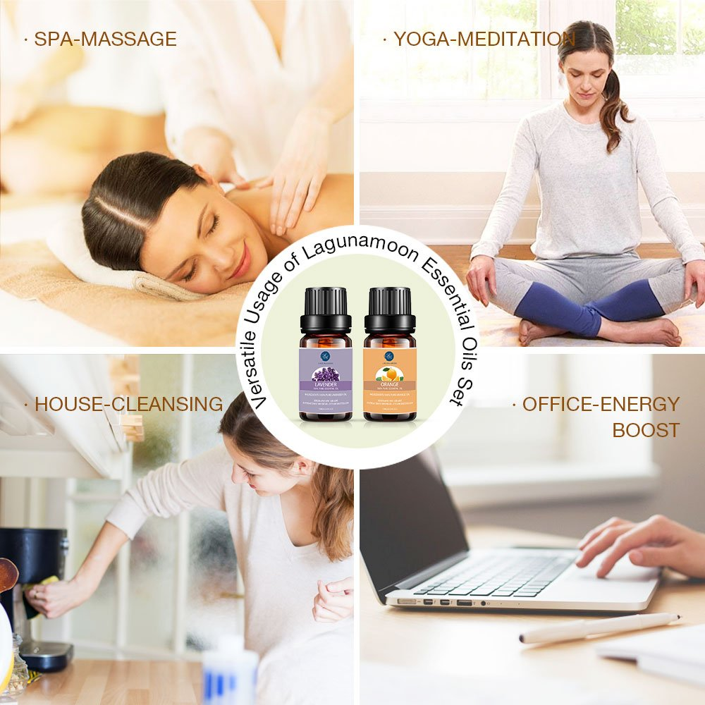 Lagunamoon Essential Oils Top 6 Gift Set  Pure Essential Oils for Diffuser, Humidifier, Massage, Aromatherapy, Skin & Hair Care: Beauty
