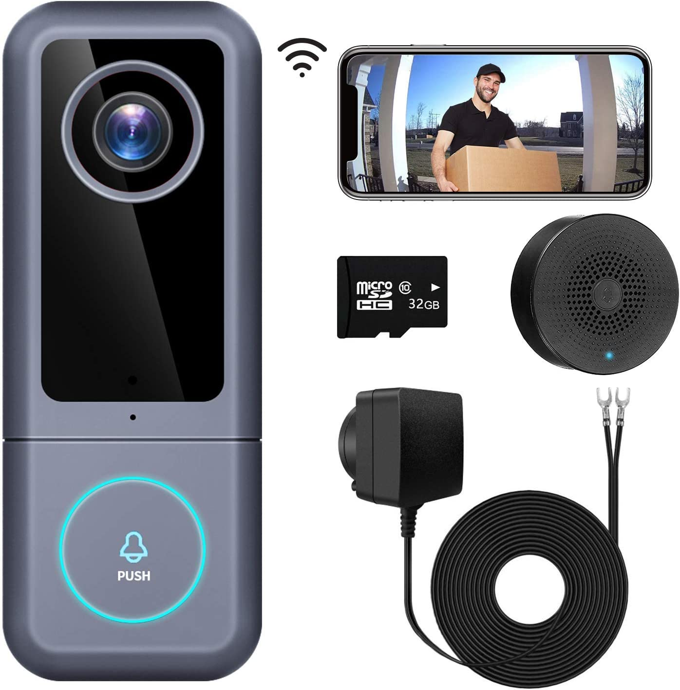 WiFi Video Doorbell Camera(Wired), Morecam 2K Ultra HD Camera Doorbell with Chime, Doorbell Wiring & Adapter, 2-Way Audio, Work with Alexa & Google hub, Cloud/SD Card Storage(32 GB SD Card Included)