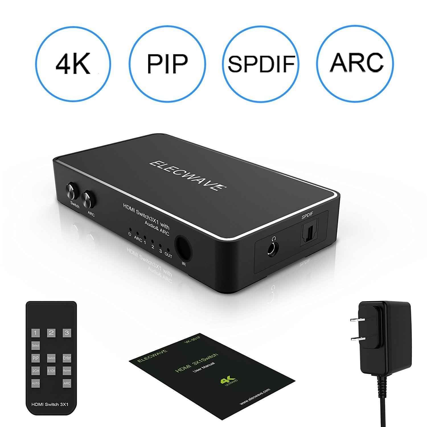 Elecwave HDMI Switch 3 Port HDMI Switch supports 4K PIP 3D SPDIF with IR Remote ARC 3.5MM Audio out by Elecwave (Image #8)