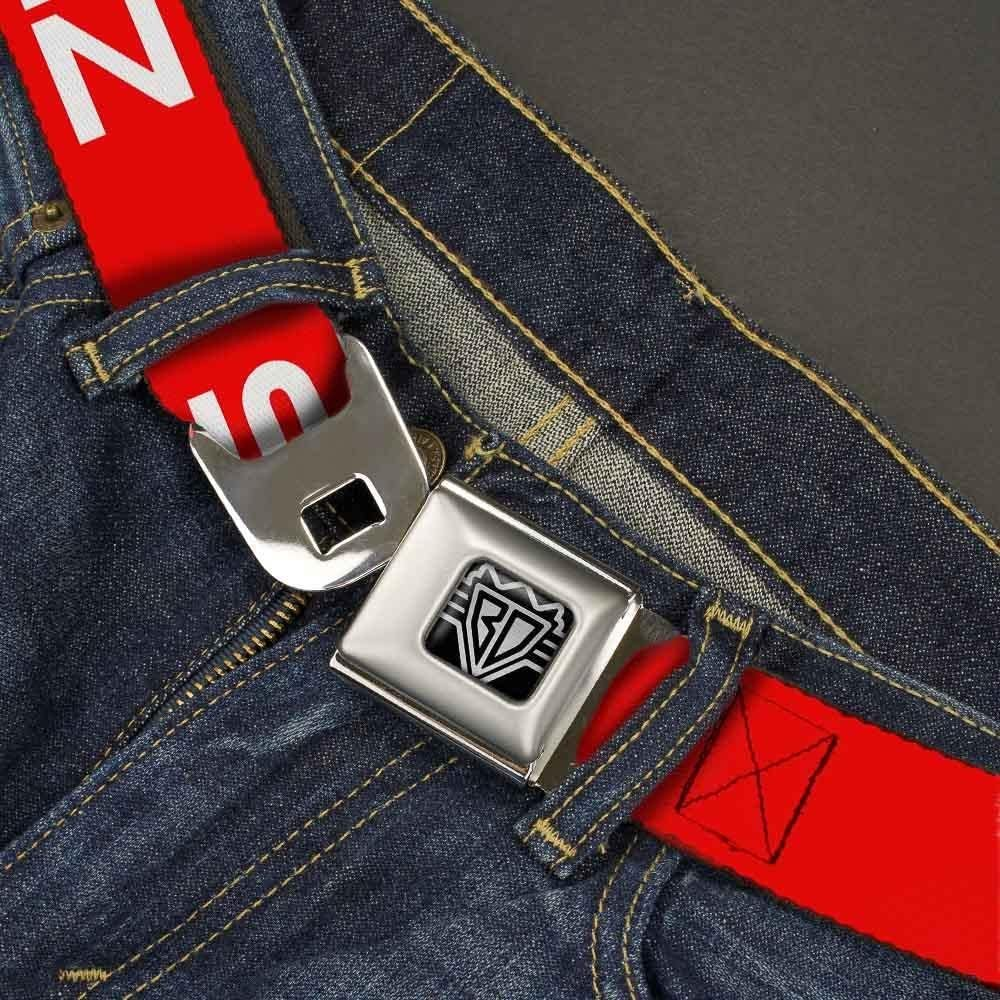 Flat red//White 1.5 Wide-32-52 Inches Buckle-Down Unisex-Adults Seatbelt Belt Steez Quote XL