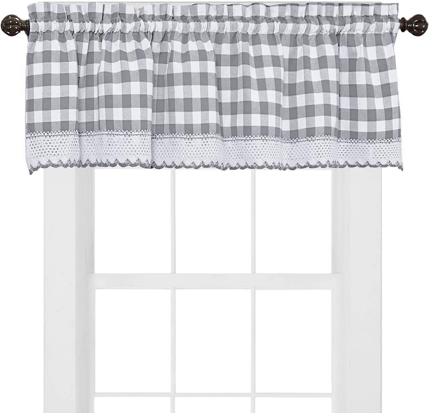 Sweet Home Collection Kitchen Window Curtain Panel Treatment Decorative Buffalo Check Design, Valance, Gray