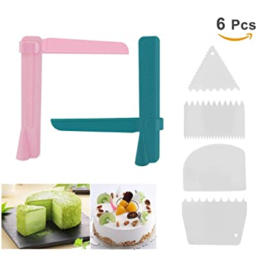 6 Pcs Cake Scraper Smoother Set - Joyoldelf 2pcs Adjustable Cake Smoother Polisher with 4pcs Different Dough Scraper Tools for Smoothing Cakes Buttercream Edge …