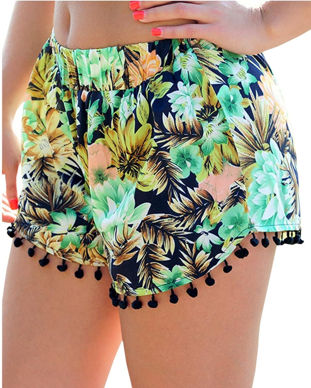 Vska Womens Fashion Casual Printed Elastic Waist Shorts