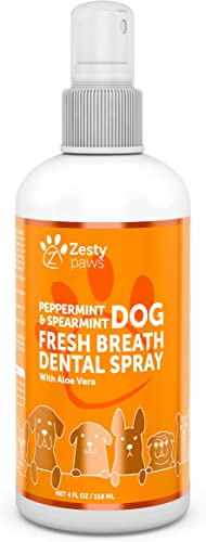 Zesty Paws Peppermint & Spearmint Fresh Breath Dog Dental Spray with Aloe Vera