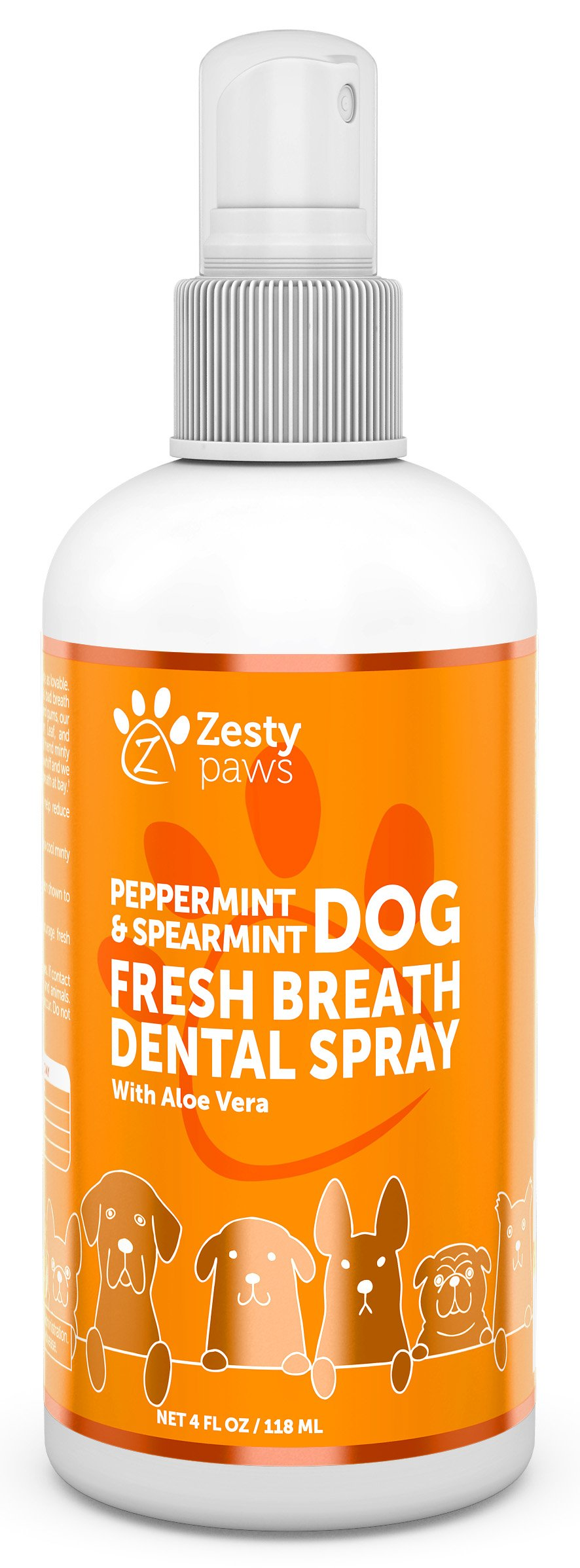 Fresh Breath Dental Spray for Dogs - Advanced Oral Hygiene Freshener with Peppermint Oil & Spearmint Leaf - Aloe Vera & Rosemary Oil to Support Teeth, Gum & Digestive Health + Remove Plaque, 4 FL OZ
