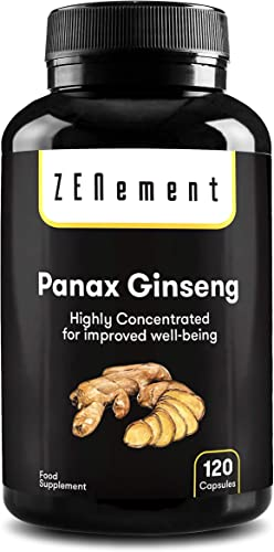 Panax Ginseng Korean Red Ginseng Max Potency 2375 mg, 120 Capsules, High Ginsenosides Endurance Energy, Stamina, Concentration, Memory, Mood 100 Vegan, Non-GMO by Zenement