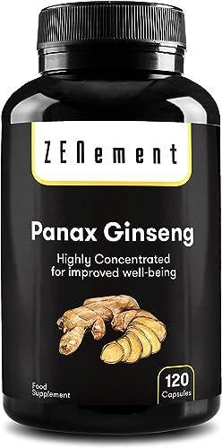 Panax Ginseng Korean Red Ginseng Max Potency 2375 mg, 120 Capsules, High Ginsenosides Endurance Energy, Stamina, Concentration, Memory, Mood 100 Vegan, Non-GMO by Zenement