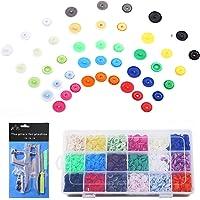 Viesap Drukknoppen, set van 450 stuks, 18 kleuren, T5 drukknopen + snaps tang (T3, T5, T8) voor alle soorten doe-het…