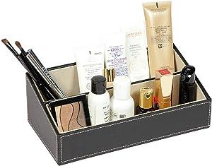 B FSOBEIIALEO Leather Desk Organizer, 3 Grids Makeup Cosmetic Organizer Storage Center, Office Desk Stationery Organizer Business Multifunction Storage Box Black