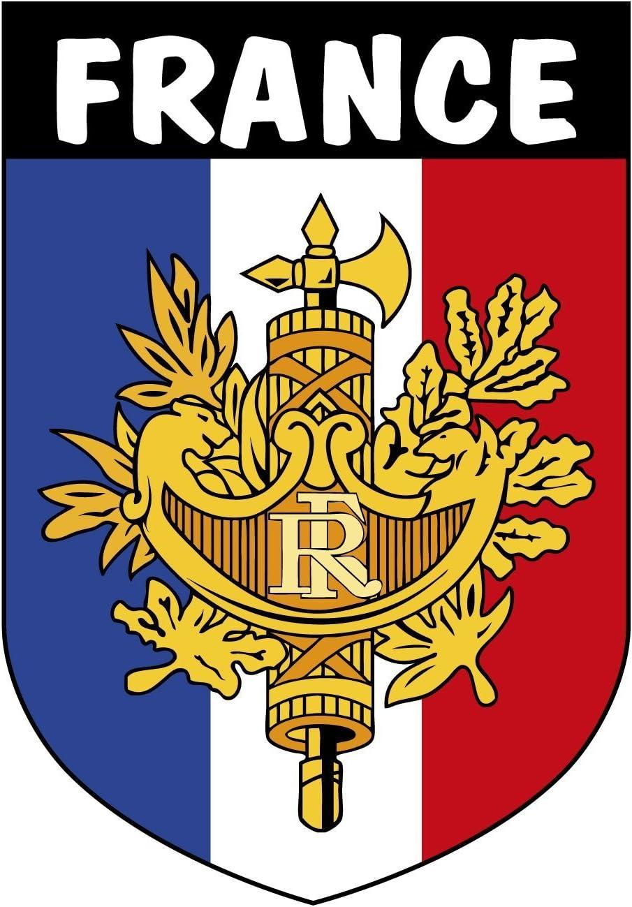 Artimagen Pegatina Escudo Francia con Texto y con Emblema 40x60 mm ...