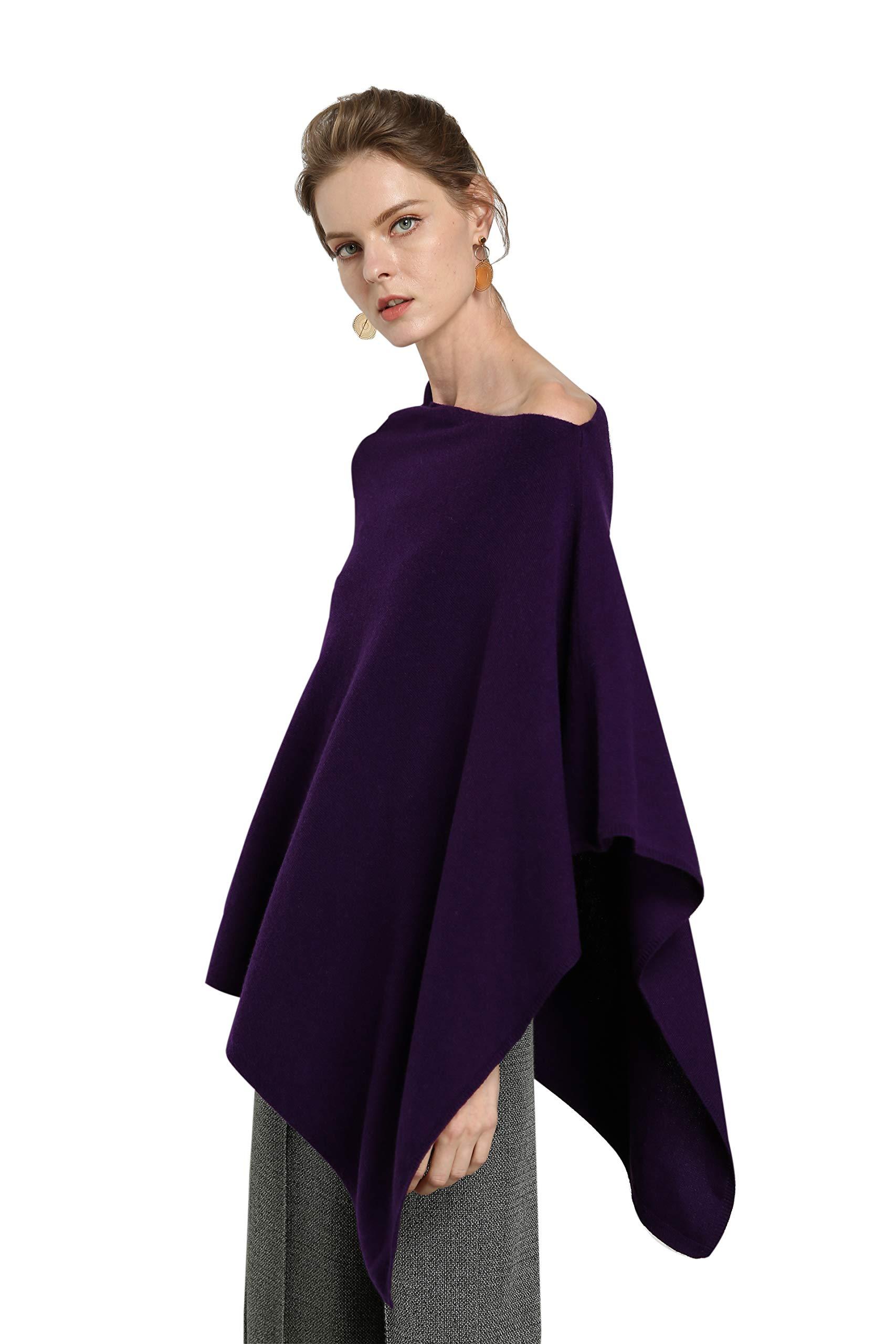 Women's Pure Cashmere Scarf Pashmina Asymmetrical 100% Cashmere Luxury Oversized Ponchos (One Size, 9018 Purple)
