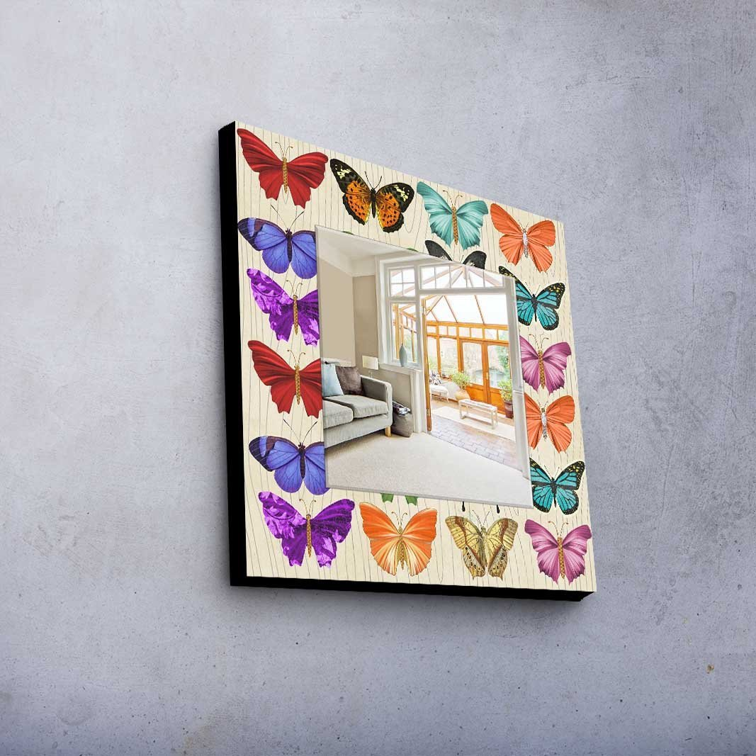 LaModaHome Home Decorative Real Mirror 100% MDF Framed (8'' Thickness) Wall Art Panel (20'' x 20'' Total) Butterfly Animal Modern Design Pattern Ornamental Colourful
