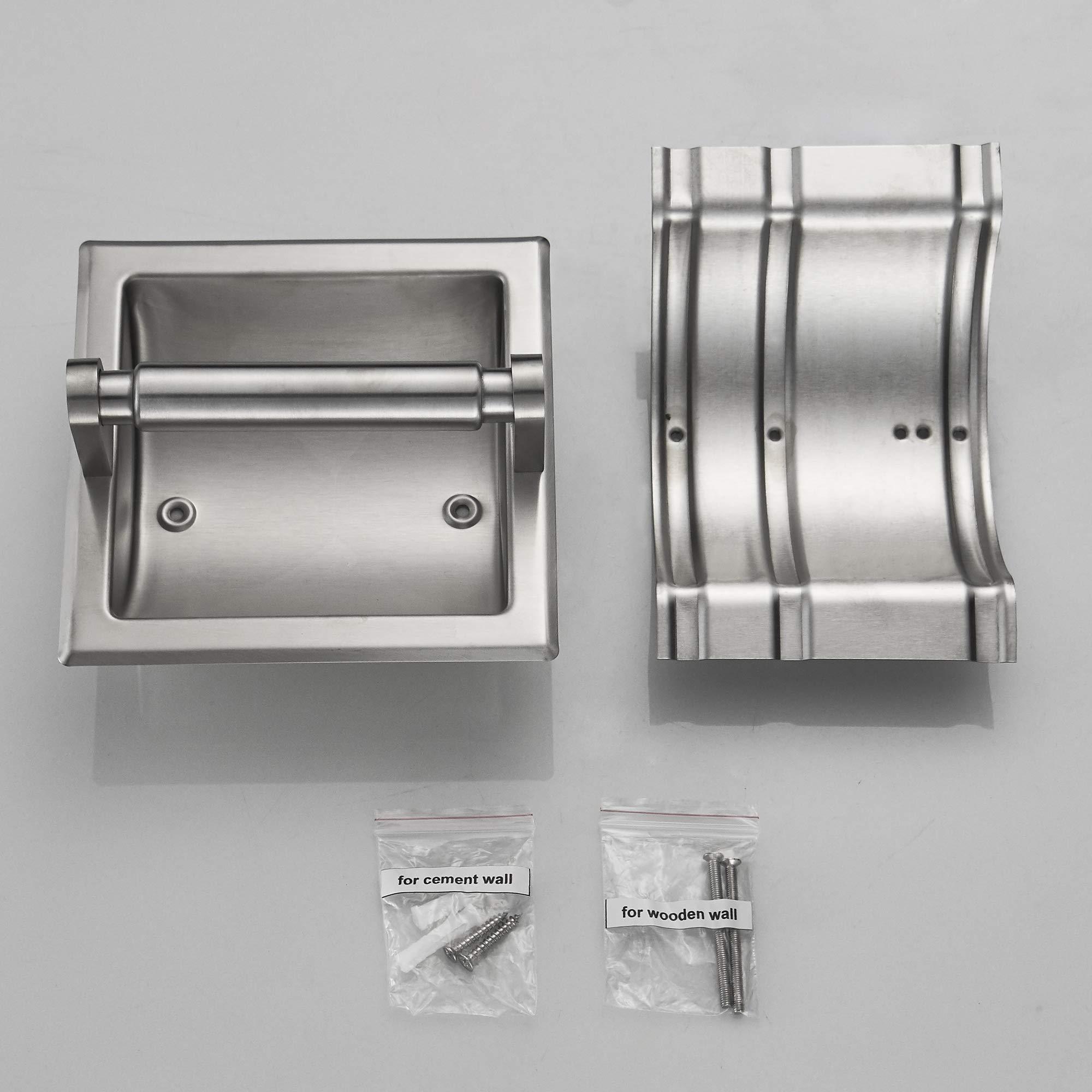 JunSun Brushed Nickel Recessed Toilet Paper Holder Wall Toilet Paper Holder Recessed Toilet Tissue Holder Stainless Steel Toilet Paper Holder Rear Mounting Bracket Included by JunSun (Image #7)