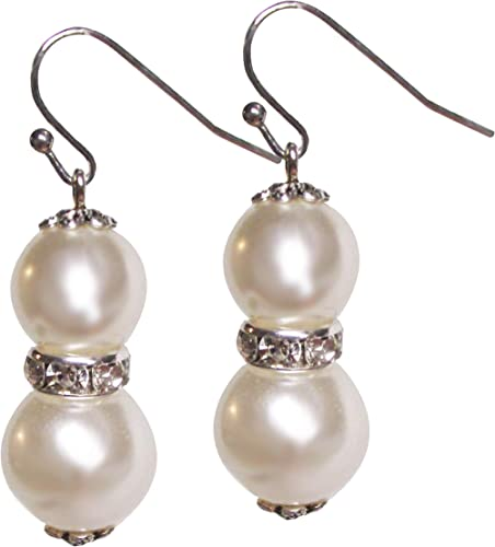 Silver Pearl Drop Earrings Ladies Fashion Jewellery Present Gift Wrapped