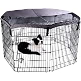Pet Playpen with Door,8 Panels Each,Heavy Duty Foldable Metal Exercise Kennel with Net Cover-36 inch