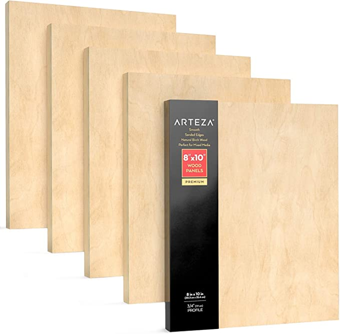 Cradled Artist Wood Panels for Painting Birch Wood Pouring Encaustic Art Use with Oils 9x12 Inch Wood Burning Acrylics /& Watercolors Pack of 5 Arteza Wooden Canvas Board