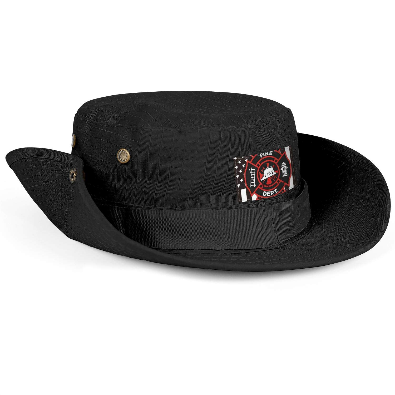 COOLER Firefighter Flag Black Wide Brim Boonie Hat Safari Hat and Fishing Hat Sun Hats for Men//Women