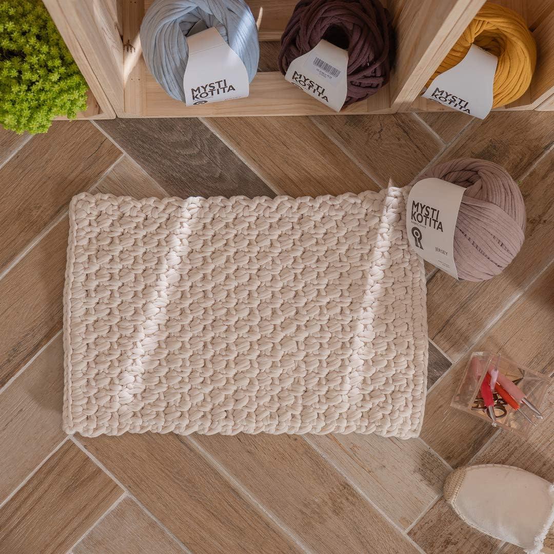 Fabric Room Mat DIY Kits, MystiKotita Home Handmade Easy & TAKE Crochet & Knitting DIY Package with MYKO Fabric Yarn. (Soft Ivory)