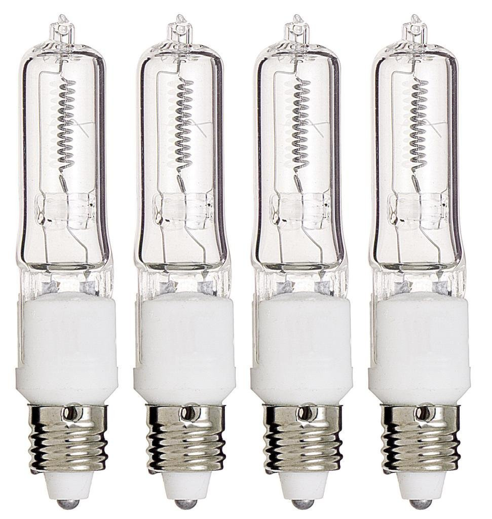 4 Pack Q75CL/MC Halogen Bulbs - 75 Watt JD T4 E11 Mini Candelabra Base 120V Clear Light Bulbs