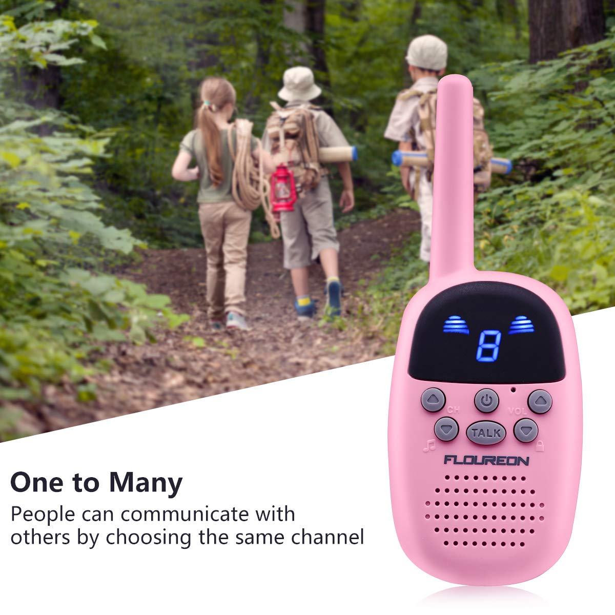 Spronto Kids Walkie Talkies 9 Channel Two Way Radio Twins Walkie Talkies FRS/GMRS Handheld Interphone Long Range for Trips Outdoor Activities (Pink) by Spronto (Image #5)
