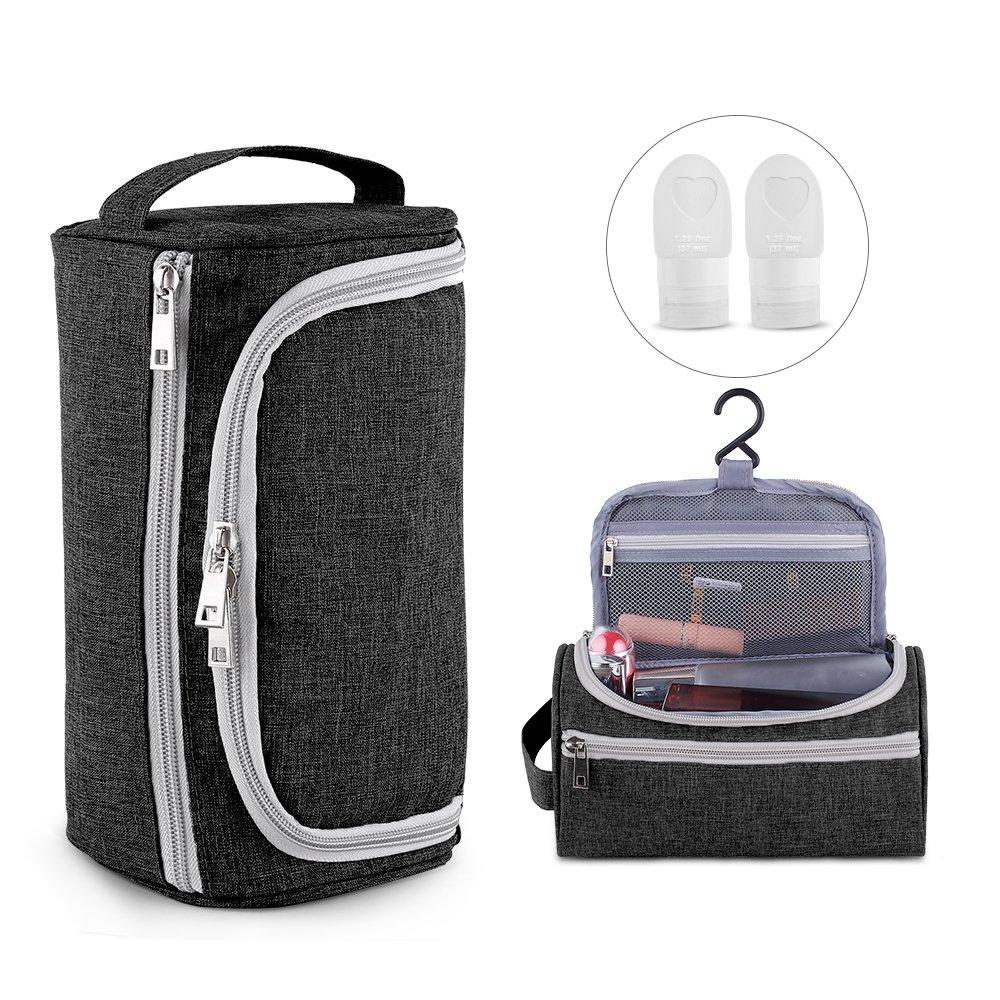 airsson旅行化粧品バッグ、メイクアップオーガナイザーHanging Wash BagシェービングDoppキットforメンズレディース, 2個旅行ボトルとしてギフト  ブラック B07F6CDZ4X