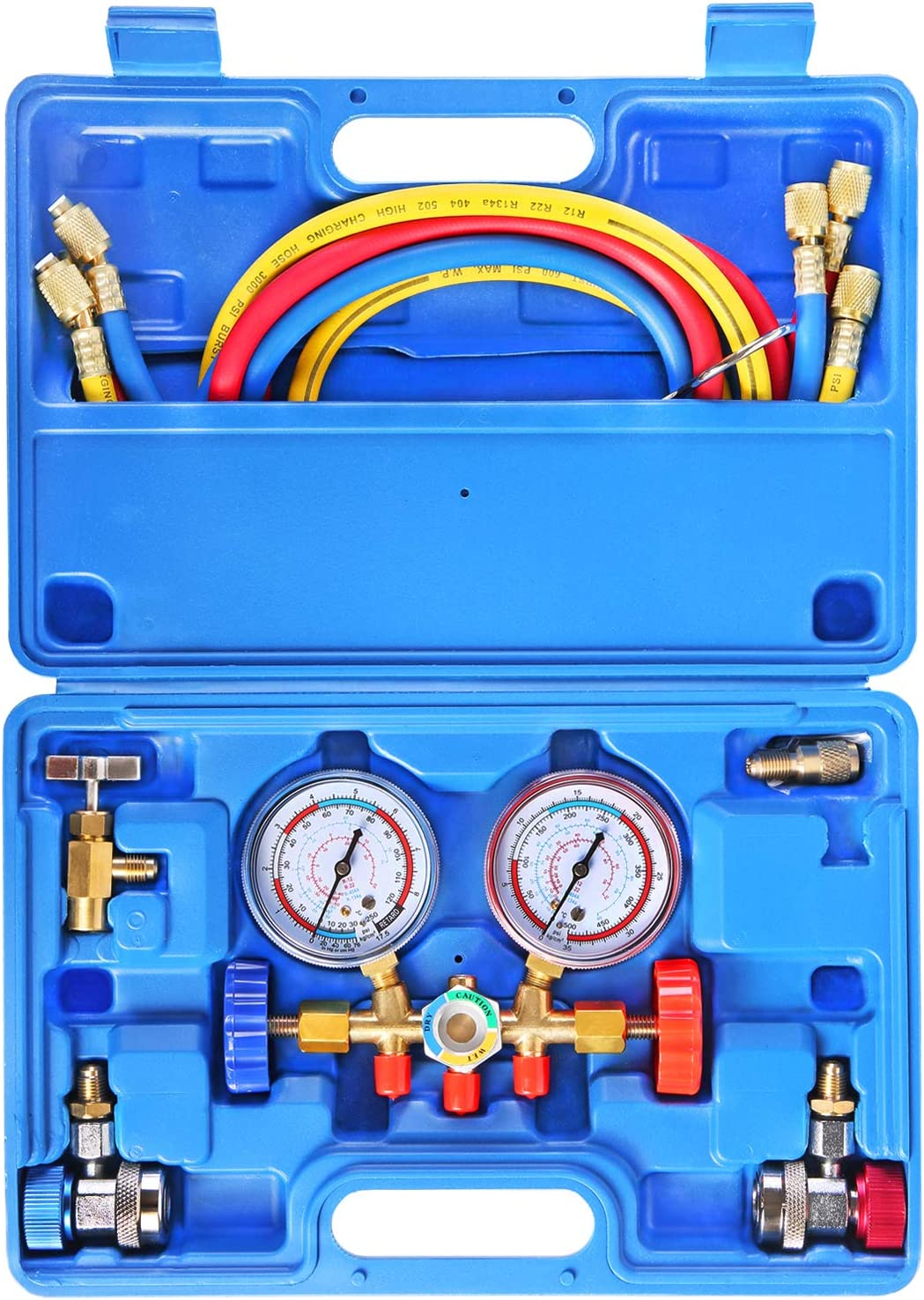JIFETOR 3 Way AC Manifold Gauge Set, HVAC Diagnostic Freon Charging Tool for Auto Household R12 R22 R404A R134A Refrigerant, with 5FT Hose, Adjustable Quick Coupler, Can Tap and Acme Adapter