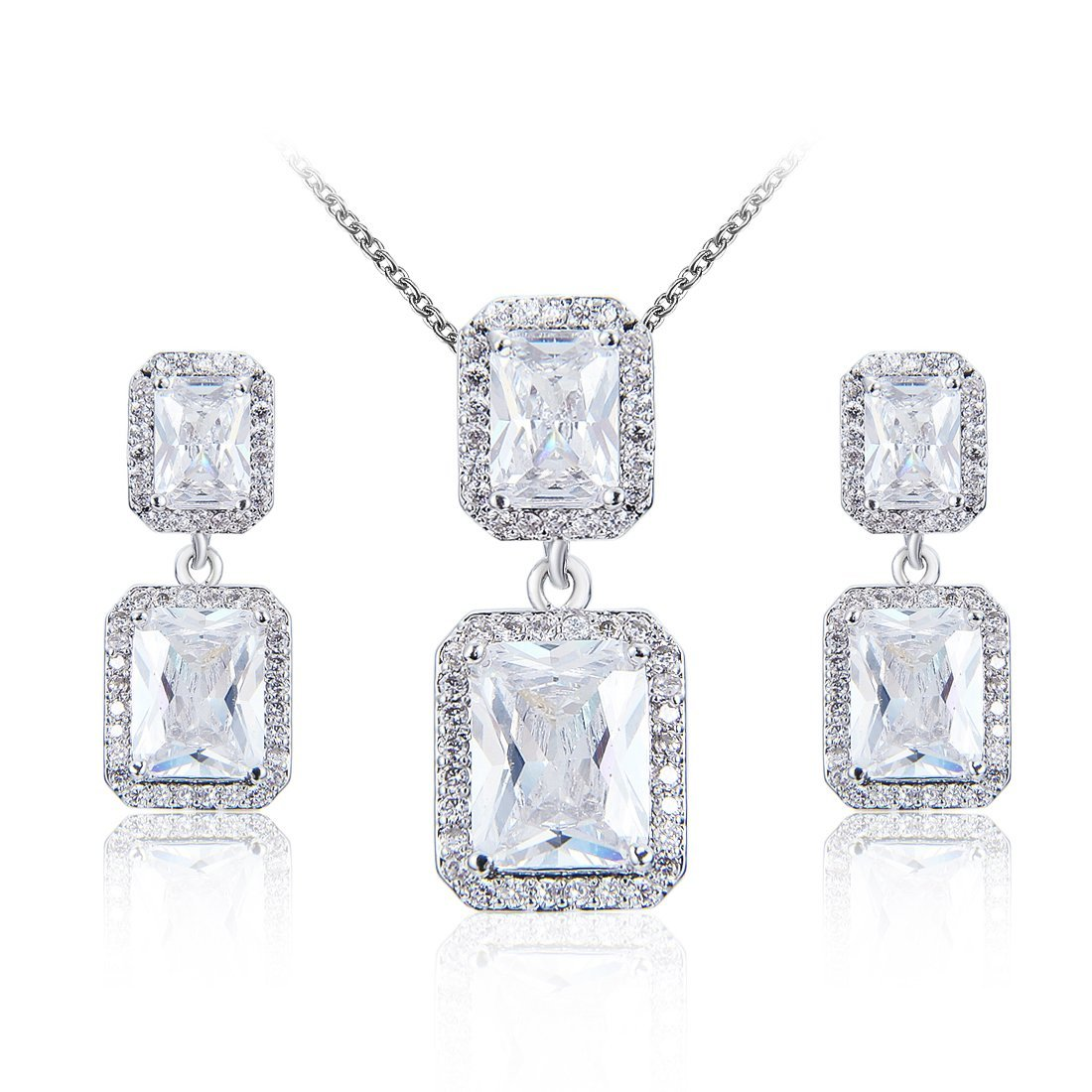 Wordless Love Jewelry Sets for Women Cubic Zirconia Party Earrings Pendant Necklace Set