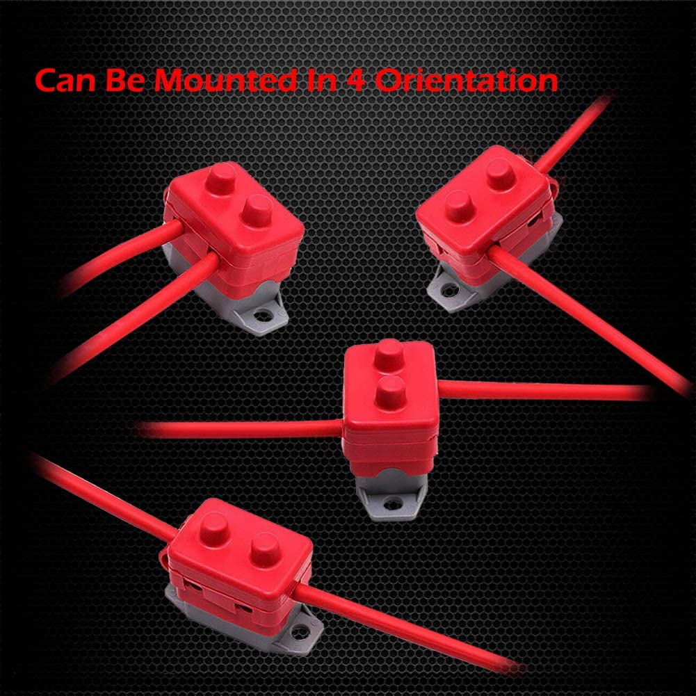 50A, 2Pcs 24V Automatic Reset Circuit Breaker with Cover Stud Bolt for Automotive and More Ampper DC 12V