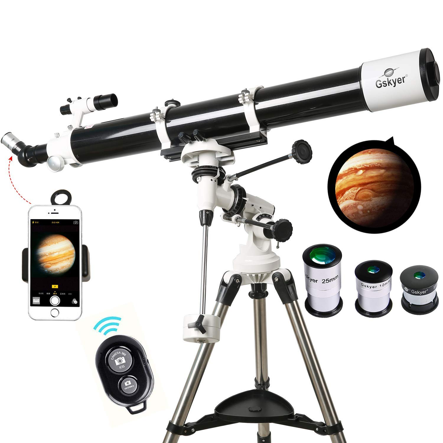 Gskyer Telescope, EQ901000 Astronomy Telescope, German Technology Refractor Telescope (Renewed) by Gskyer