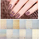 12 Sheets Gold Silver 3D Metallic Nail Stickers for Women, Kalolary Noble Metallic Chains Line Wave Point Stars Nail…