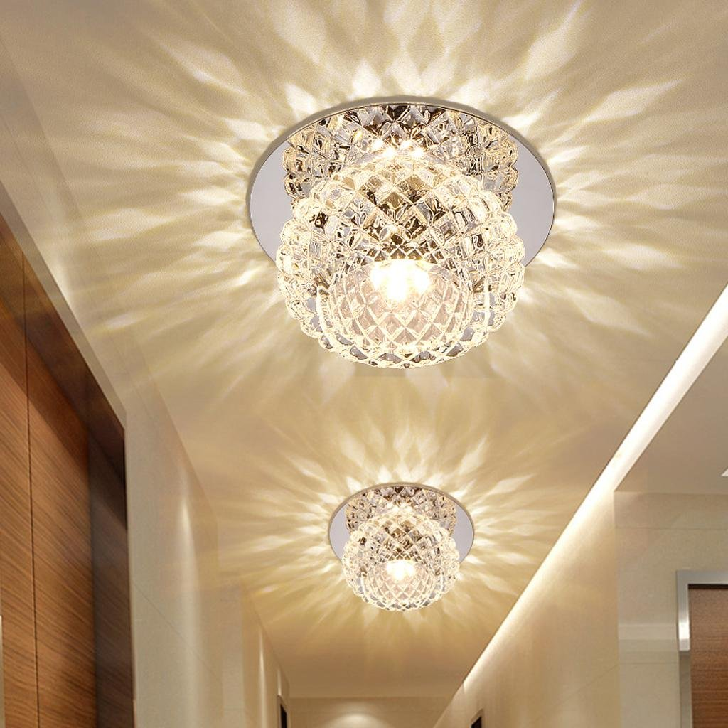 5W LED Modern Flush Mount Lighting Ceiling and Wall Light Spots Crystal Round Ceiling Lamp for Vestibule, Hallway, Entrance Ø 12CM , Warm white [Energy Class A+] HanLinLight