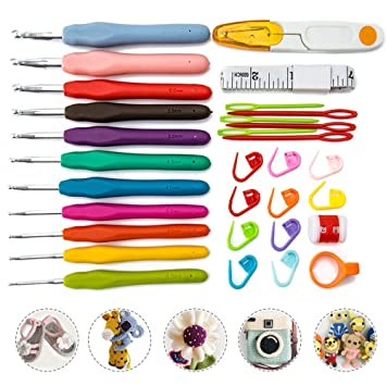 FlowersSea 30 PCS Kit de Ganchos de Crochet Ergonomico con ...