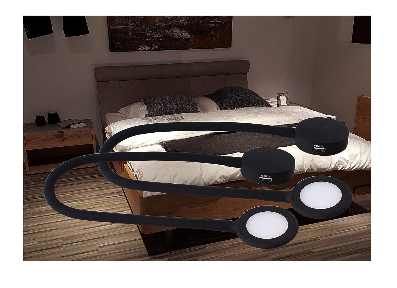 LED Bettleuchten Leseleuchten Bettlampe Touch dimmbar USB Art. 4204-2   schwarz Helitec 2-er Set mit Trafo Tischleuchte Nachtleuchte Aufbauleuchte
