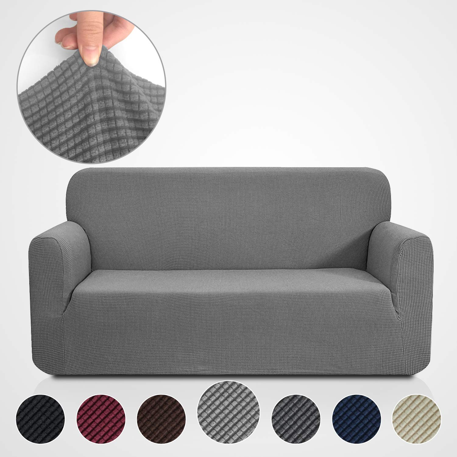 (Sofa, Grey) - RHF Jacquard-Stretch Sofa Cover, Slipcover for Leather Couch-Polyester Spandex Sofa Slipcover & Couch cover for dogs, 1-Piece sofa protector(Sofa: Grey) Sofa グレー B07219W9VQ