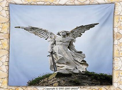 Amazon Sculptures Decor Fleece Throw Blanket Sculpture Of A Amazing Guardian Angel Throw Blanket