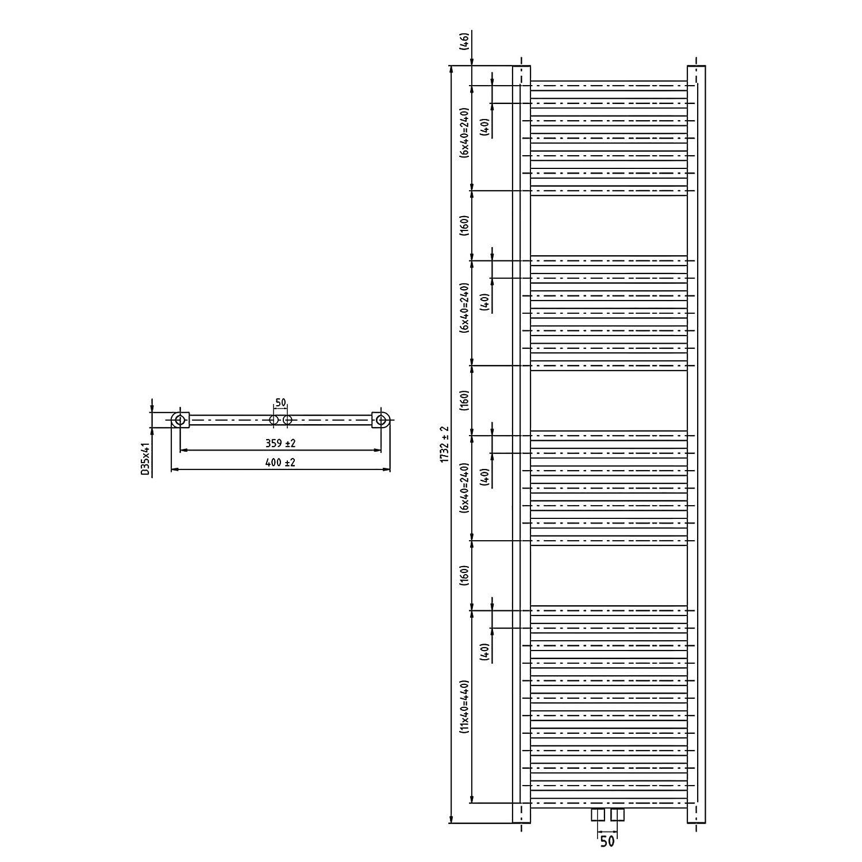 Heizk/örper Badheizk/örper gerade 764 x 750 chrom mit Mittelanschluss 50 mm 344 Watt nach EN442