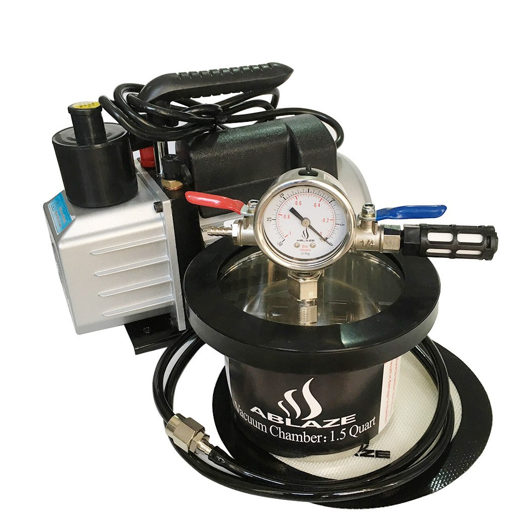 ABLAZE 1.5 Quart Stainless Steel Vacuum Degassing Chamber and 3 CFM Single Stage Pump Kit by Ablaze (Image #4)