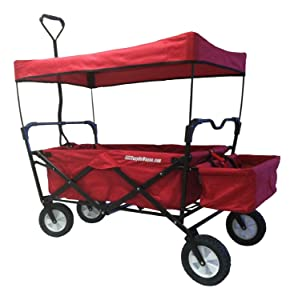 EasyGoProducts EGP-WGN-001-R EasyGo Sports Heavy Duty Folding All Terrain Utility Garden – Beach – Camping Red Wagon